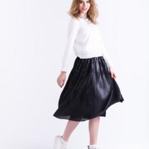 Midi-rok plissé hoogglans effect/Black Pleating Skirt Model: Erebos, Product ID: C-2017-003 calf length, #AxellesFashion