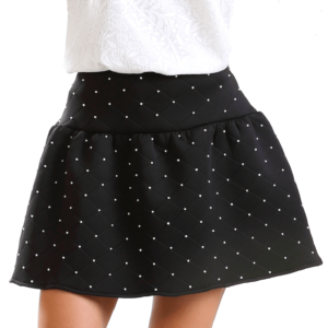 black skirt with faux pearls embellishment buy online