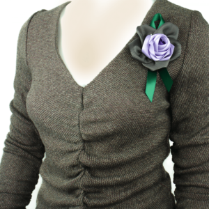 Ruffled long sleeves cotton top blouse with large flowerbuy brooch online www.axelles-fashion.com