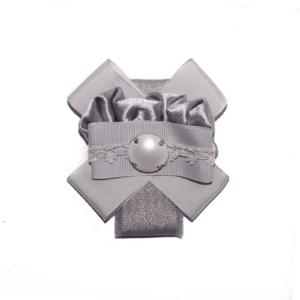 Silver Gray Tie & Bow cloth brooch ACC_04C_color_01_brooch_01