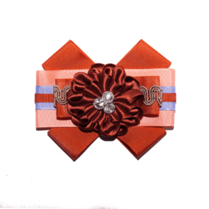 Cloth bow brooch in Dark-Orange and Lavender ACC_10_color_04_brooch_02