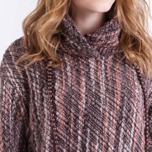 Oversize woolen jumper (dress) Yanolo, gestreept, grijs rood