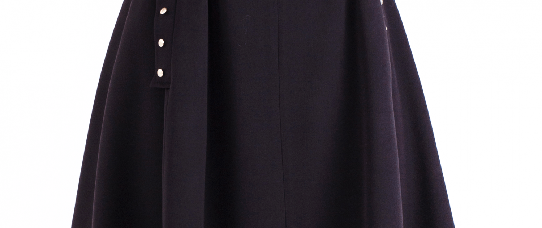 Button-embellished Flare skirt _C-2017-0002