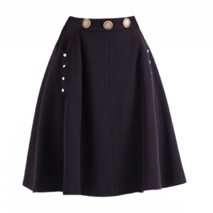 Button-embellished Flare skirt _C-2017-0002