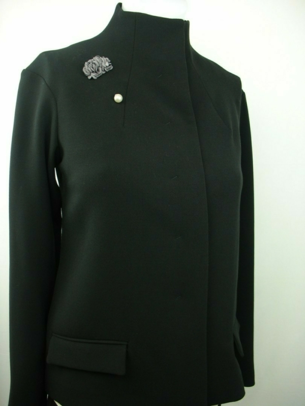 black jacket with lapel pin designer brooch buy exclusive online www.axelles-fashion.com
