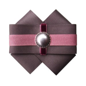 Bowknot brooche, pearl pin in Gray-Dahlia, Axelles-Fashion