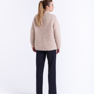 Gewichtloos wollen cardigan grof gebreid Luca, article K-2016-0006, Cardigan in Alpaca Merino wool blend in taupe,