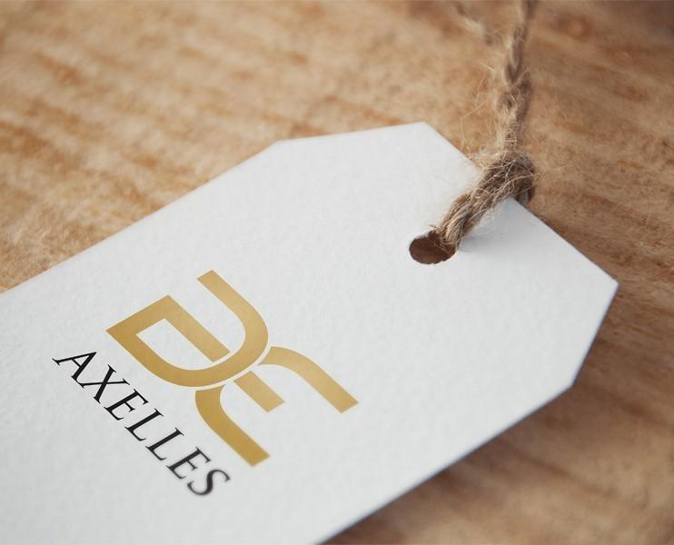 presentation axelles designer fashion brand logo hang tag,