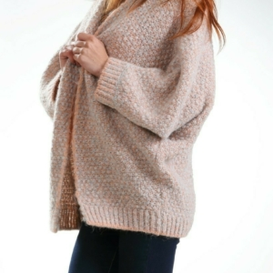 Royal Alpaca Merino Madeline V-neck Cardigan buy online www.axelles-fashion.com article K-2016-0004 gray-coral