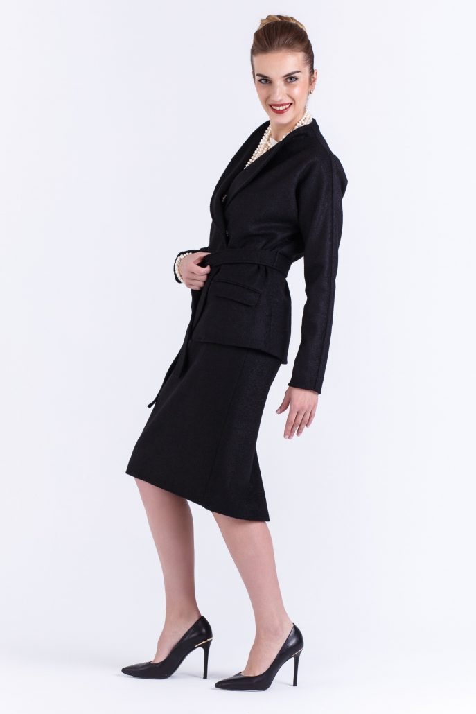 Luxury black jacket and skirt suit Lineaesse buy exclusive online www.axelles.fashion.com