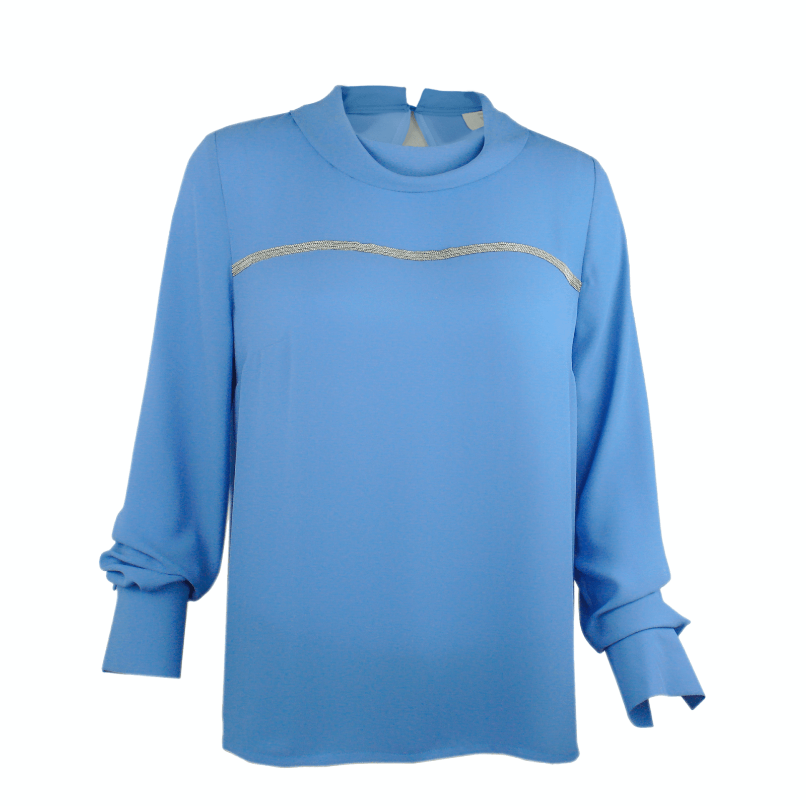 """Casual blouse with cowl neck in """"palace blue"""" color buy online www.axelles-fashion.com"""