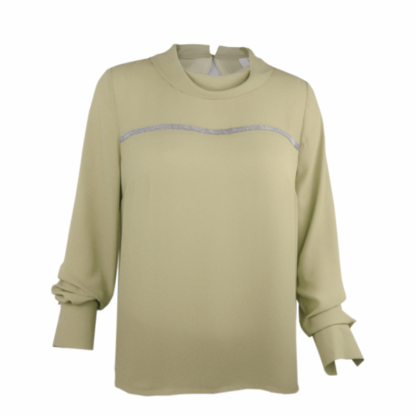 taupe blouse with cowl neck buy online www.axelles-fashion.com art B-2016-0042 taupe ecru