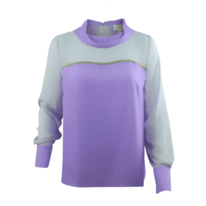 violet lavender blouse with piping in metal trim and cowl neck