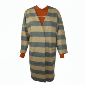 brown cowl neck blouse, oversize woolen striped coat buy exclusive online www.axelles-fashion.com