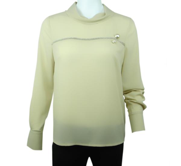 taupe ecru cowl neck blouse buy exclusive online www.axelles-fashion.com