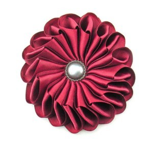 Large brooche fabric flower, darkred, ACC_44, AXelles-Fashio