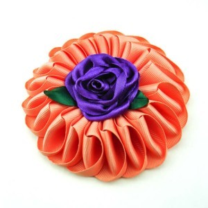 Fabric flower brooche XL in coral red (cloth brooche), Axelles