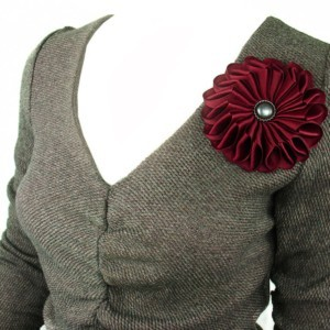 Large brooche fabric flower, dark red, ACC_44, back-side, tricot blouse, Axelles-Fashion