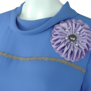 blue palace cowl neck blouse with large cloth flower shaped brooch trend 2019 buy online exclusive on www.axelles-fashion.com