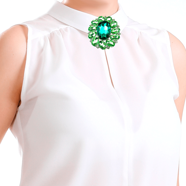 silk white long sleeve shirt with large brooch buy exclusive online www.axelles-fashion.com