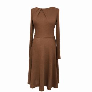 A-line dress in textured cotton drape details buy exclusive online www.axelles-fashion.com art T-2017-0003