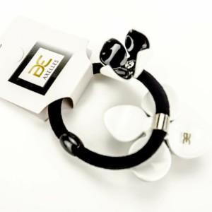 Luxe haarelastiek Camelia's, zwart-wit, in-geschenkdoos, AXELLES