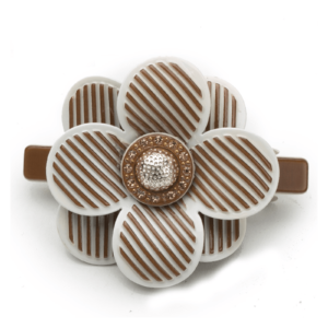 Flower Hair Barrette Clips brown hairwear-Acrylic-Rhinestone high quality Axelles Fashion