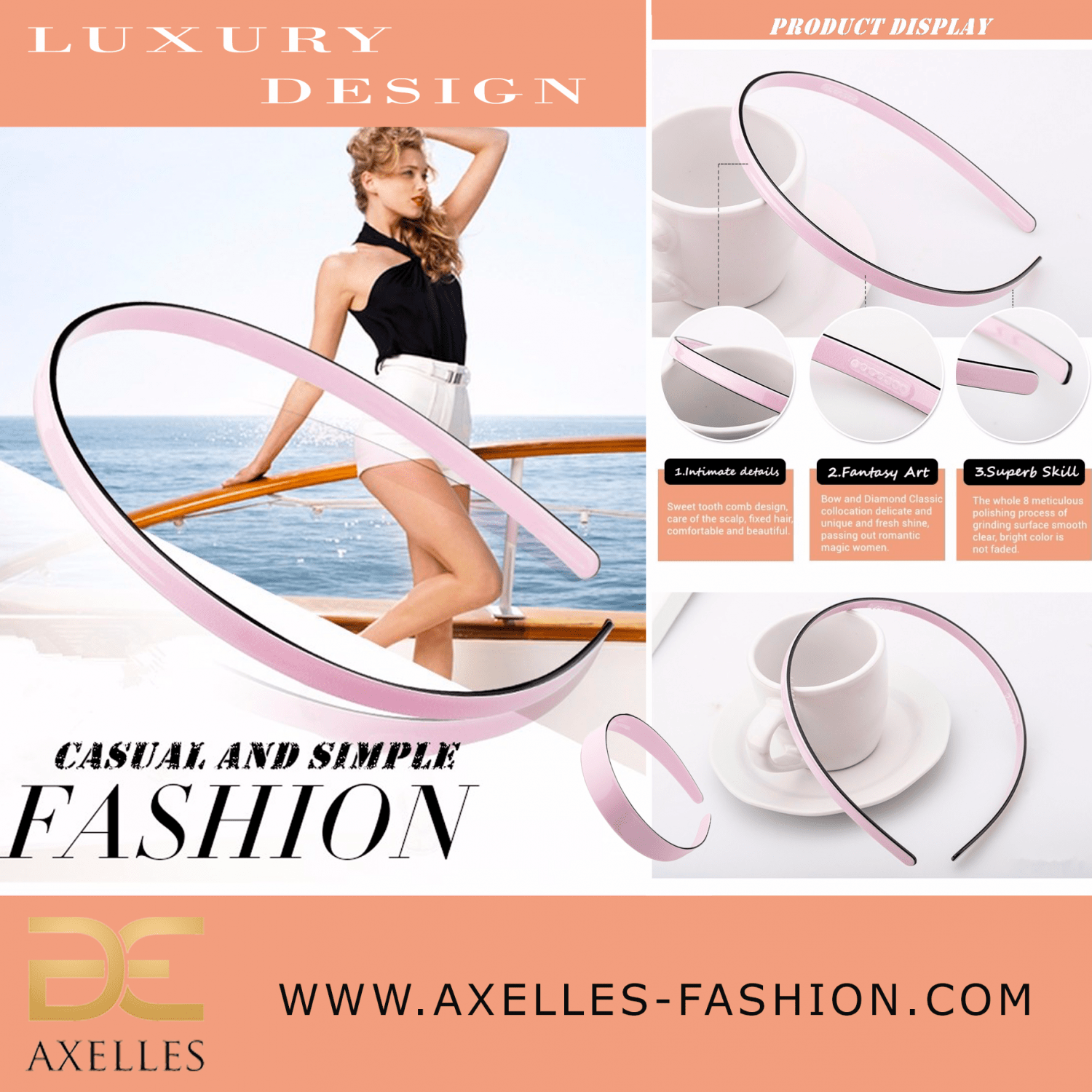 Luxury Hair Accessories Simple collection hairband headband product info www.axelles-fashion.com