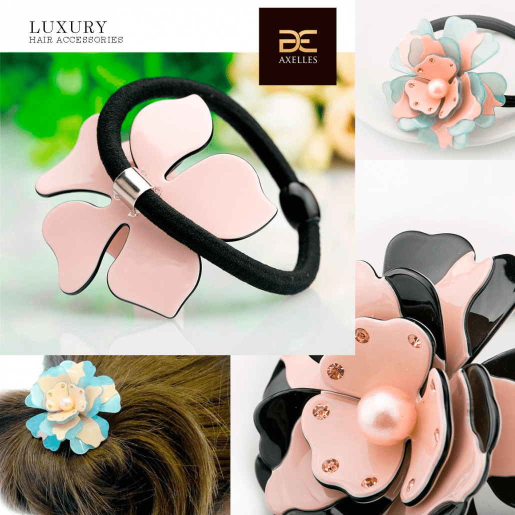 luxury wrap around hair ponytail with flower in shell shape with pearle and rhinestones Axelles