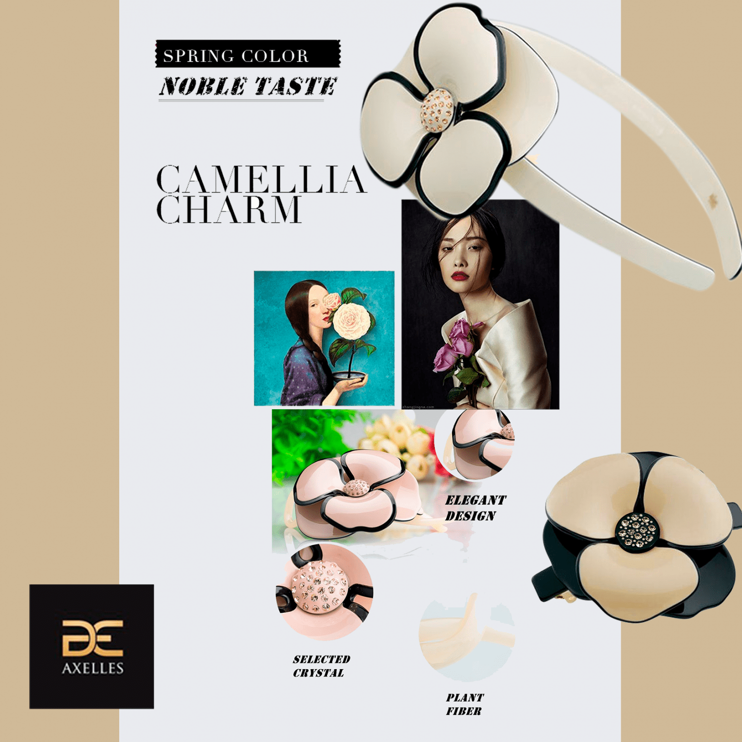 Luxury hair barrette with Camelia flower eco-friendly components Axelles