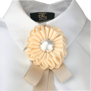 collar tie ribbon trim flower brooch by on www.axelles-fashion.com