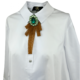 shirt tie fashion design with large green brooch 2019 new collection Axelles