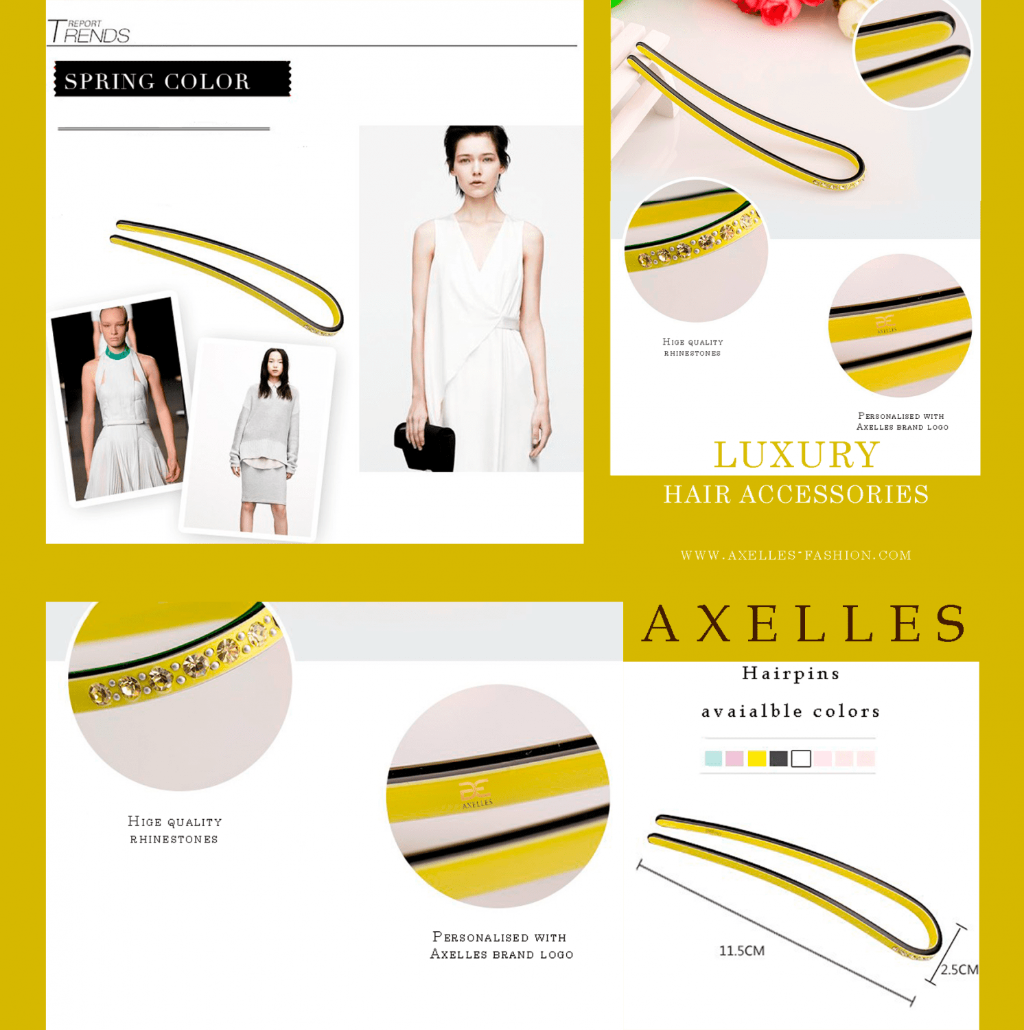 presentation new luxury hairpins accessories collection by Axelles www.axelles-fashion.com