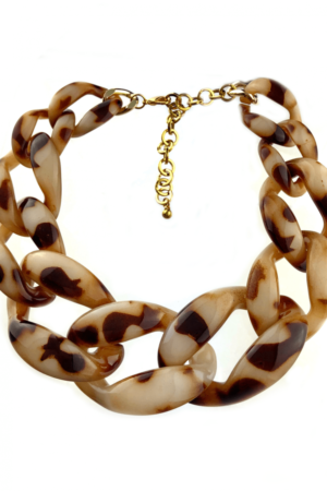 Tiger print large chains necklace best quality jewelry buy online www.axelles-fashiom.com ref NK1025