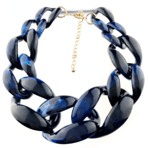 Blue tiger print large chains necklace best quality jewelry buy online www.axelles-fashion.com ref NK1025