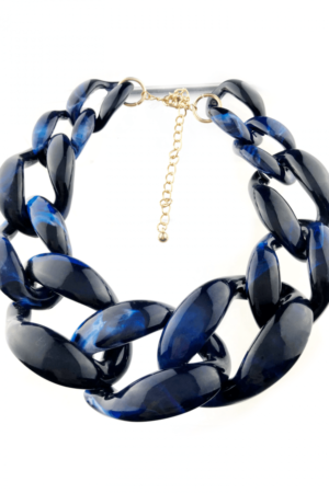 Blue tiger print large chains necklace best quality jewelry buy online www.axelles-fashiom.com ref NK1025