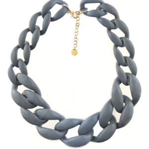 Acrylic chain necklace gray / grijs buy on www.axelles-fashion.com ref NK1011