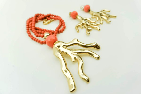 Red beads necklace with gold coral pendant, earrings,set, buy online, kopen, kupit, Axelles Fashion