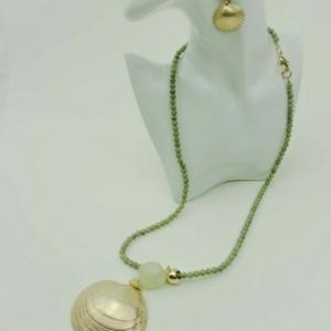 Бусы с кулоном ракушка морского гребешка, серьги, купить онлайн на Axelles fashion