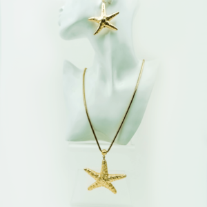 trendy Starfish necklace Ocean, earrings, set, gold plated, designer, Axelles, buy, online, kopen, kupit www.axelles-fashion.com