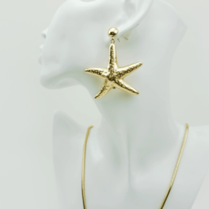 trendy Starfish earrings Ocean, necklace, set, gold plated, designer, Axelles, buy, online, kopen, kupit www.axelles-fashion.com