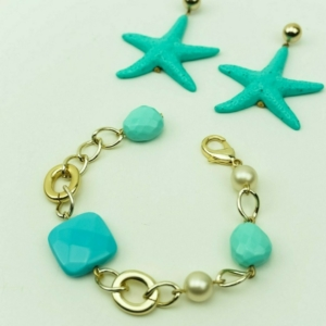 Chain bracelet with turquoise and pearls, shell, starfish, earrings, bracelet, designers Axelles