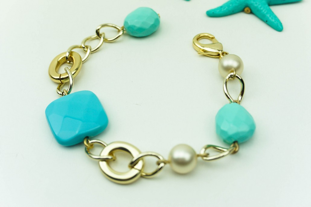 7e5f8d7ab Chain bracelet with turquoise and pearls, shell, starfish, earrings,  bracelet, designers
