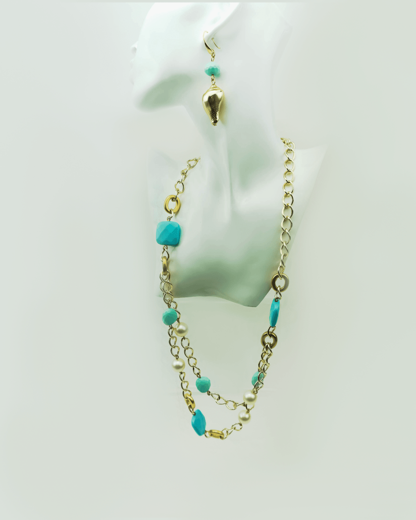 fb5680b6c Layered chain necklace with turquoise and pearls by Axelles