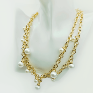 Layered chain necklace with pearls designer Axelles buy online kopen kupit