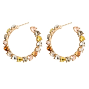 Big round loop stones earrings studs multicolor diam 4 cm exclusive by Axelles Fashion ref 18065