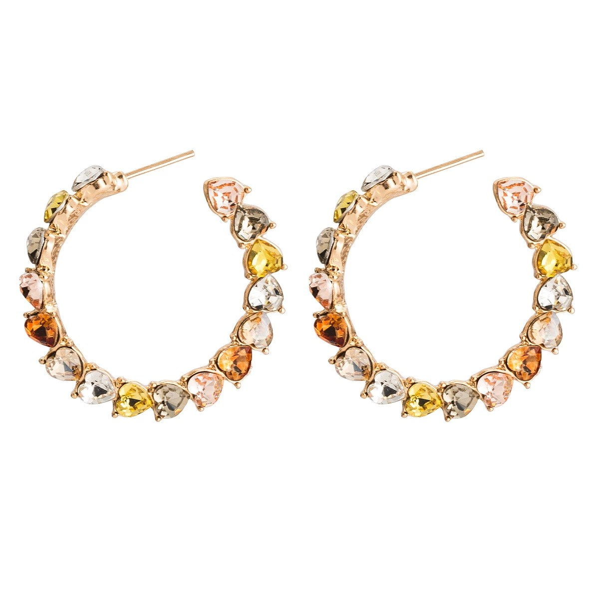 0496dbde7 Big round loop stones earrings studs multicolor diam 4 cm exclusive by  Axelles Fashion ref 18065