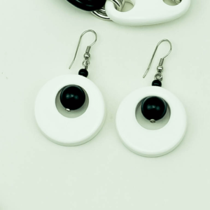 Black & white chain earrings circle,round,ball, buy online kopen,kupit,Axelles Fashion.
