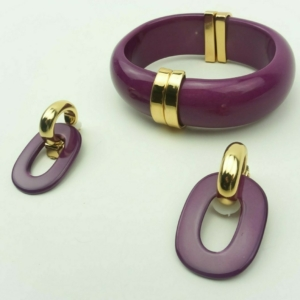 Bracelet-Bangle, magnetic clasp, earrings clips, studs, set, in fuchsia color, gold plated metal accent, natural components, buy online kopen www.axelles-fashion.com