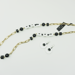 Chain Beaded Necklace Black & White, earrings, set, designer Axelles buy online, kopen,kupit, Axelles Fashion.